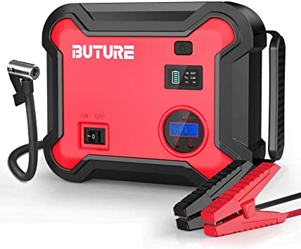 LED Flashlight Phone Charger with Dual Digital Display UTRAI 2000A Peak 24000mah Portable Jump Power Pack Car Jump Starter with Air Compressor up to 8L Gas or 6.5L Diesel Engine