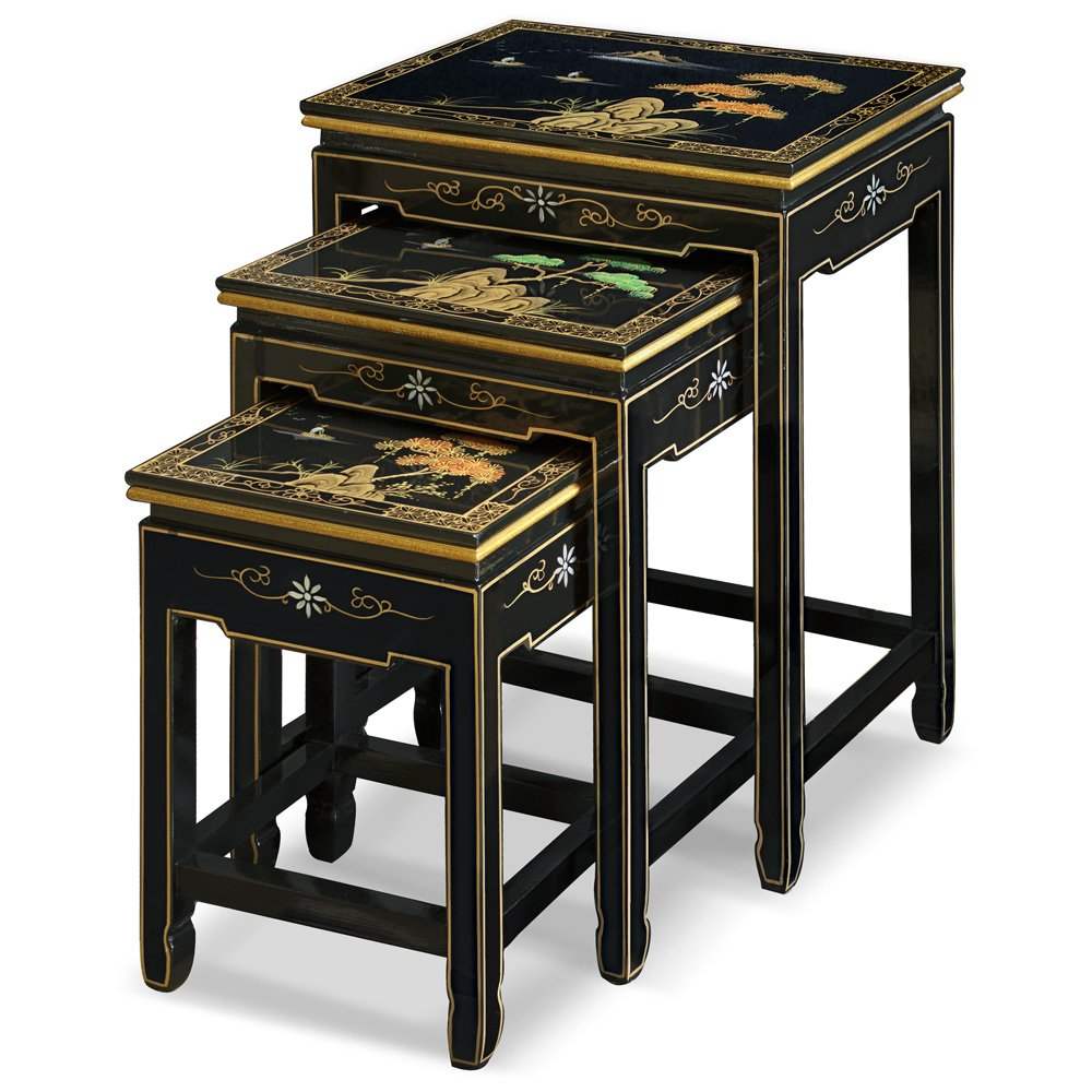 Amazon com china furniture online black lacquer nesting table hand painted chinese mountain landscape set of 3 table kitchen dining