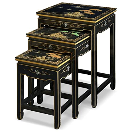 China Furniture Online Black Lacquer Nesting Table, Hand Painted Chinese  Mountain Landscape Set Of 3