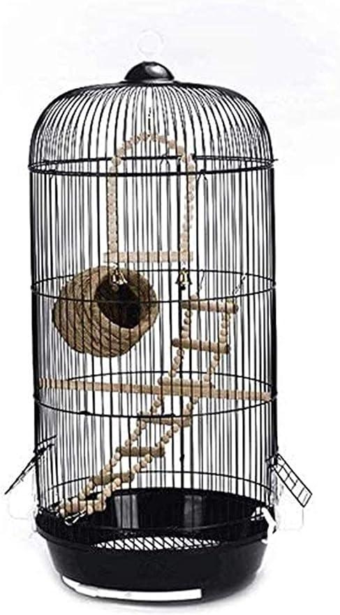 Jaula dpájaros duradera y ecológica, Parrot Jaula Birdhouses Classic Lujo Cúpula Redondo Pájaro Caged Parakeet Pájaro salvaje Gorrión Pájaro Canarias Pájaro Jaula Altura 74 cm (Negro) Jaula para pájar