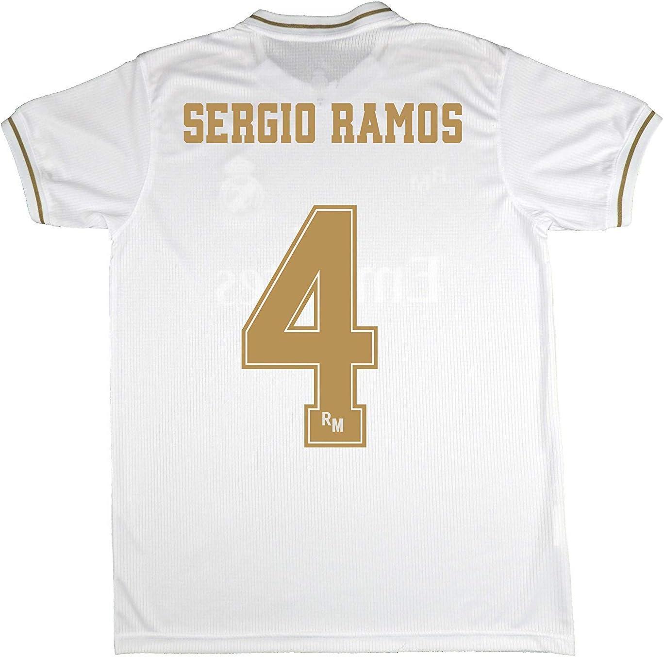 Real Madrid Camiseta Primera Equipación Talla Adulto Sergio Ramos Producto Oficial Licenciado Temporada 2019-2020 Color Blanco (Blanco, Talla S): Amazon.es: Deportes y aire libre