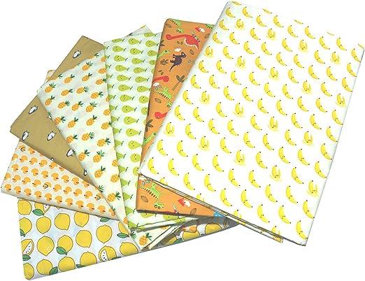 Yellow Fat Quarters Fabric Bundles Precut Sewing Quilting Fabric,18 x 22
