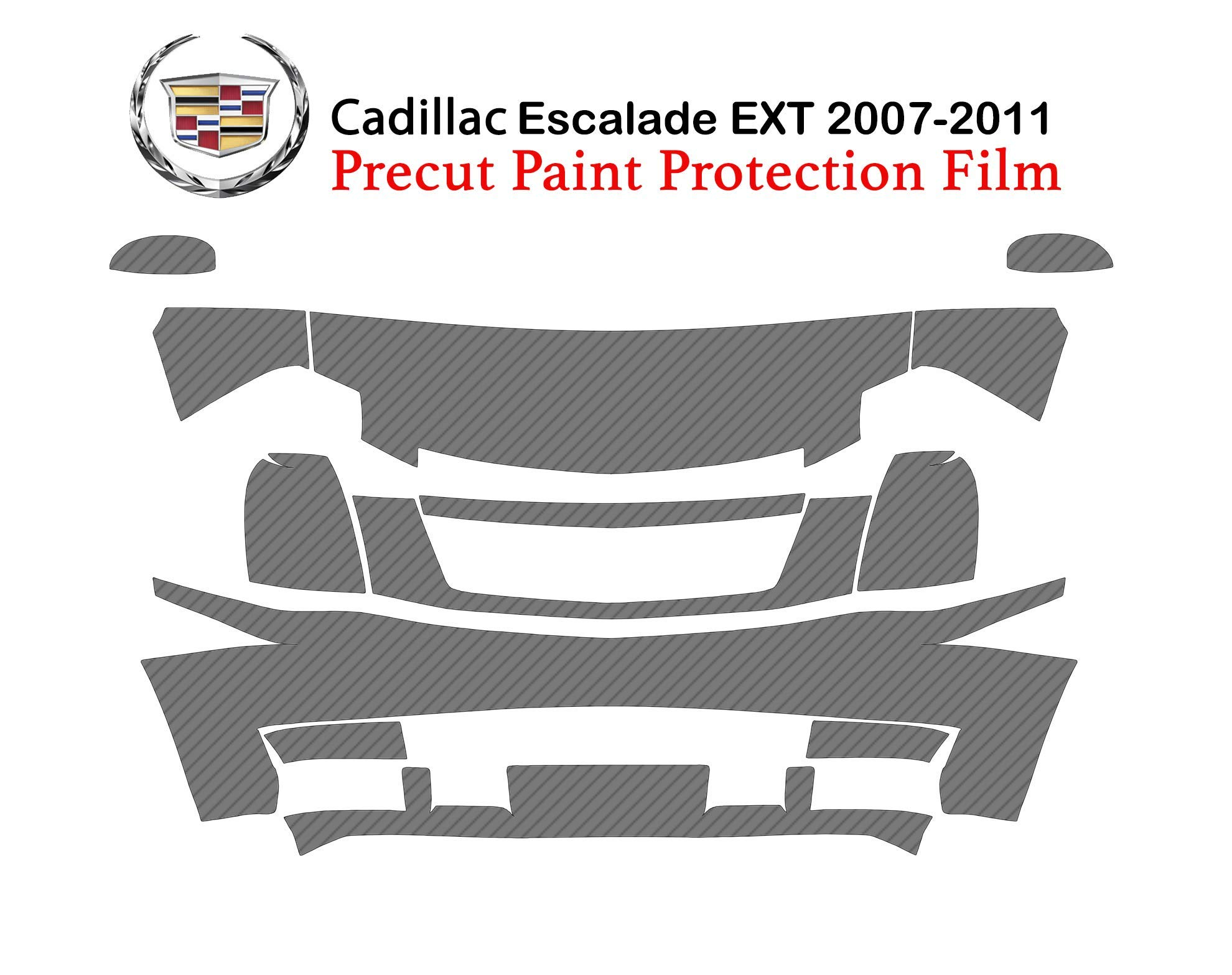 The Online Liquidator Precut Paint Protection Film fits Cadillac Escalade EXT 2007-2011 - Premium Full Front Clear Bra Shield Cover