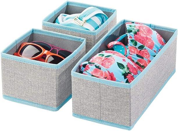 mDesign Juego de 3 cajas organizadoras – Cestas de tela transpirable para ropa interior, leggings, etc. – Versátiles organizadores de cajones para dormitorio o habitación infantil – gris/turquesa: Amazon.es: Hogar