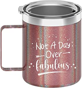 Not A Day Over Fabulous Gifts For Women - Birthday Gifts For Women - Presents For Mom, Wife, Girlfriend, Coworkers, Best Friends, Daughter, Sister, Aunt, Nana, Grandma - 12oz Insulated Coffee Mug
