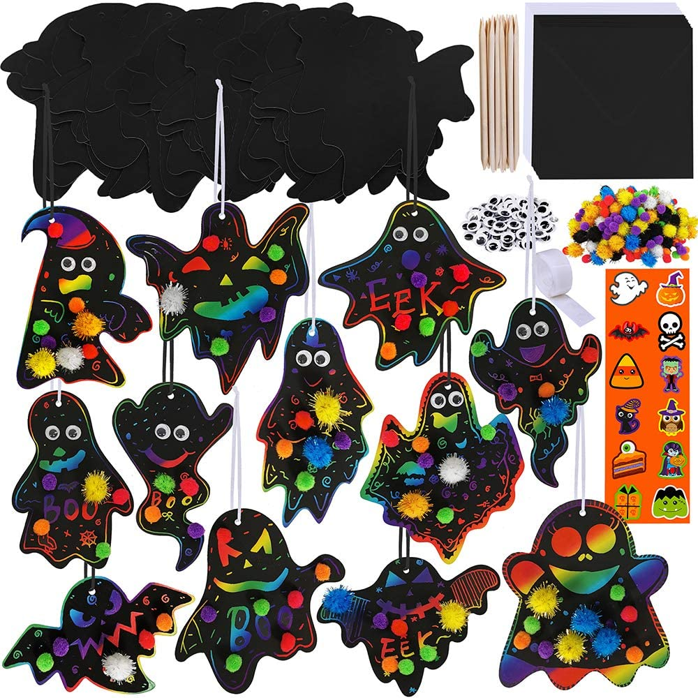 Winlyn 48 Sets Magic Color Scratch Halloween Ghost Hanging Ornaments Bookmarks Craft Kit Assorted Paper Ghost Cutouts Pom-poms Googly Eyes for Kids Classroom Party Favors Halloween Decor