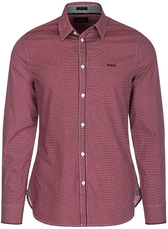 Guess M84H41W8BX0 - Camisa de hombre de algodón con cuello italiano y diseño moderno: Amazon.es: Ropa y accesorios