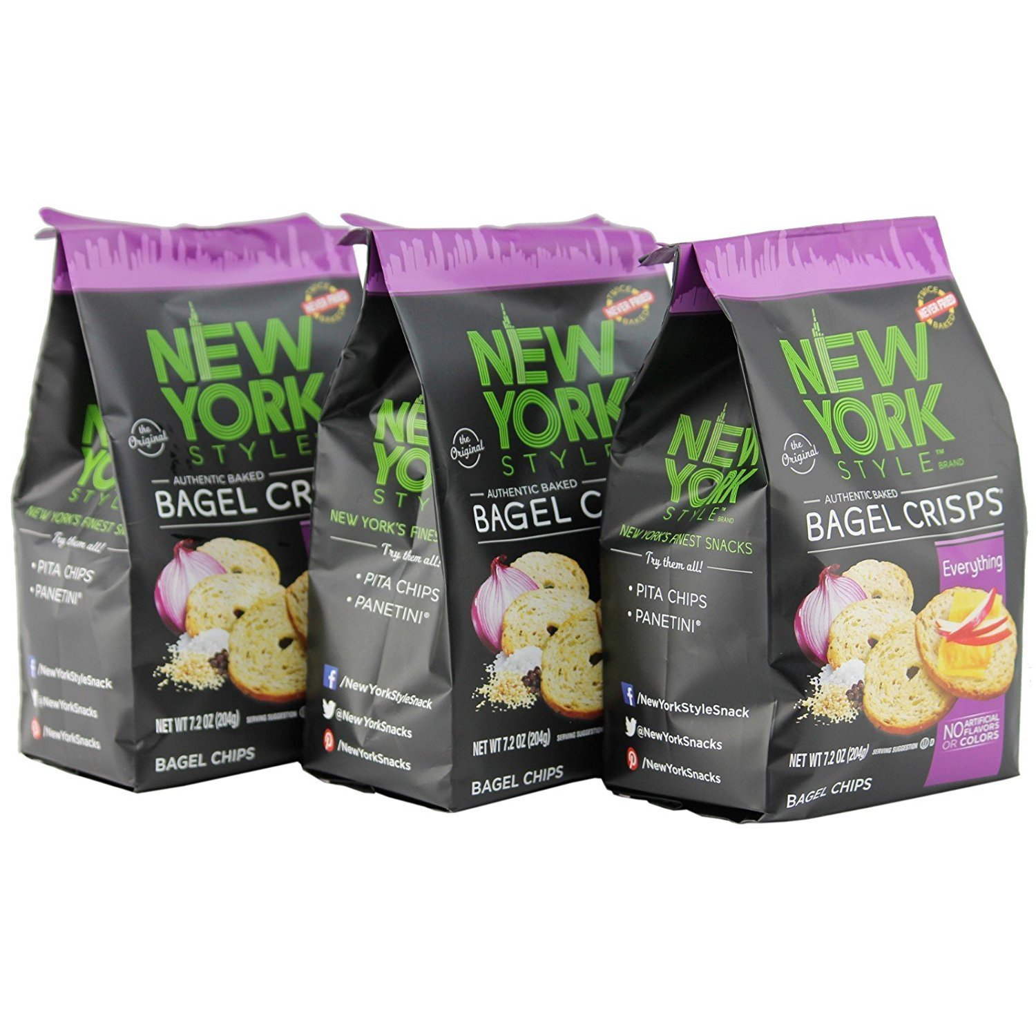 New York Style Bagel Crisps Everything, 7.2 Ounce - (Pack of 12) Twice Baked, Never Fried