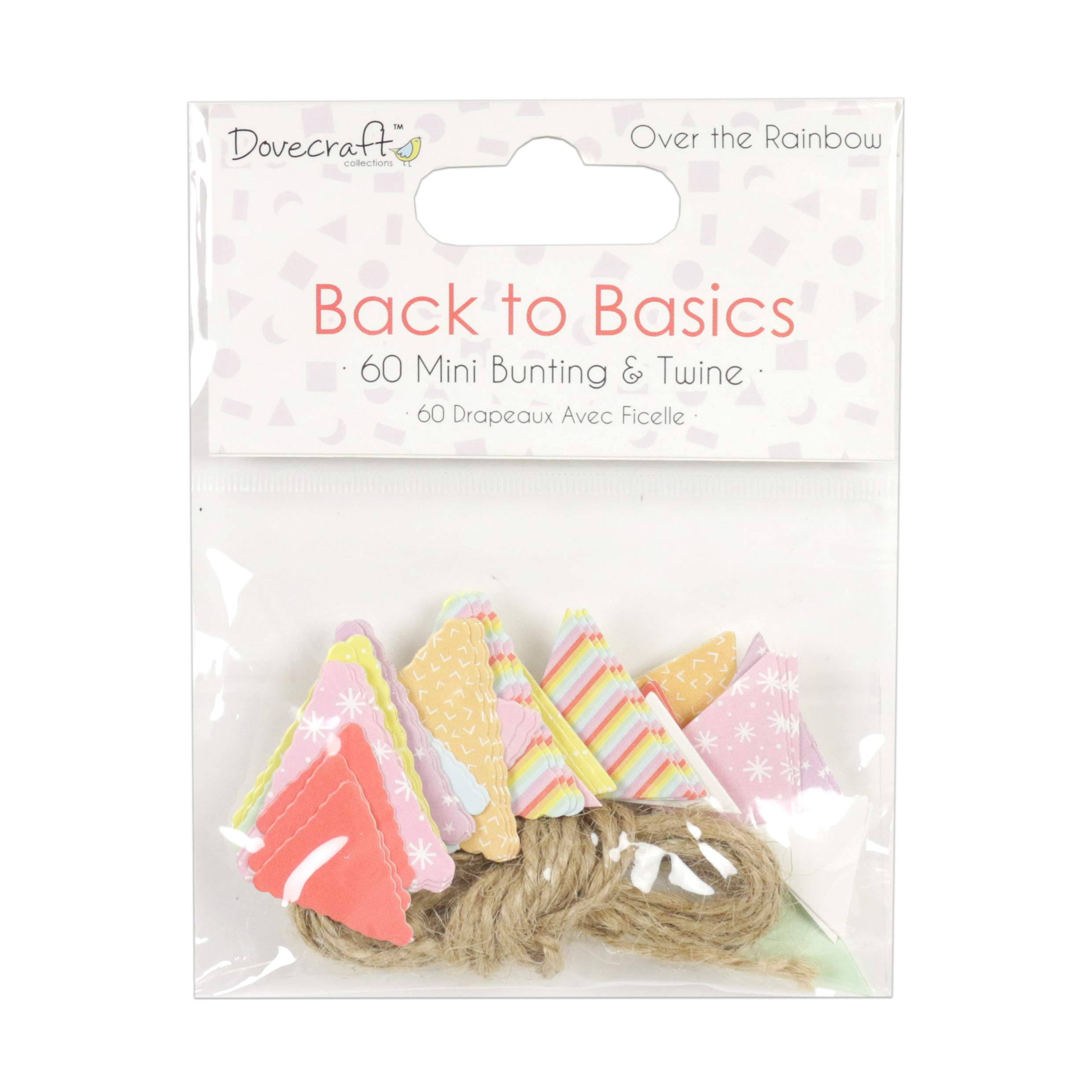 Dovecraft Back to Basics Over The Rainbow Mini Bunting and Twine, Multicolour, 1