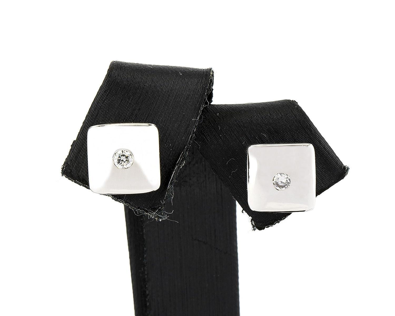 Pendientes con diseño cuadrado en oro blanco de 18 kt. con incrustaciones de Diamantes de talla brillante