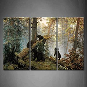 Firstwallart Bears Play in Forest Broken Tree Wall Art Painting The Picture Print On Canvas Animal Pictures for Home Decor Decoration Gift