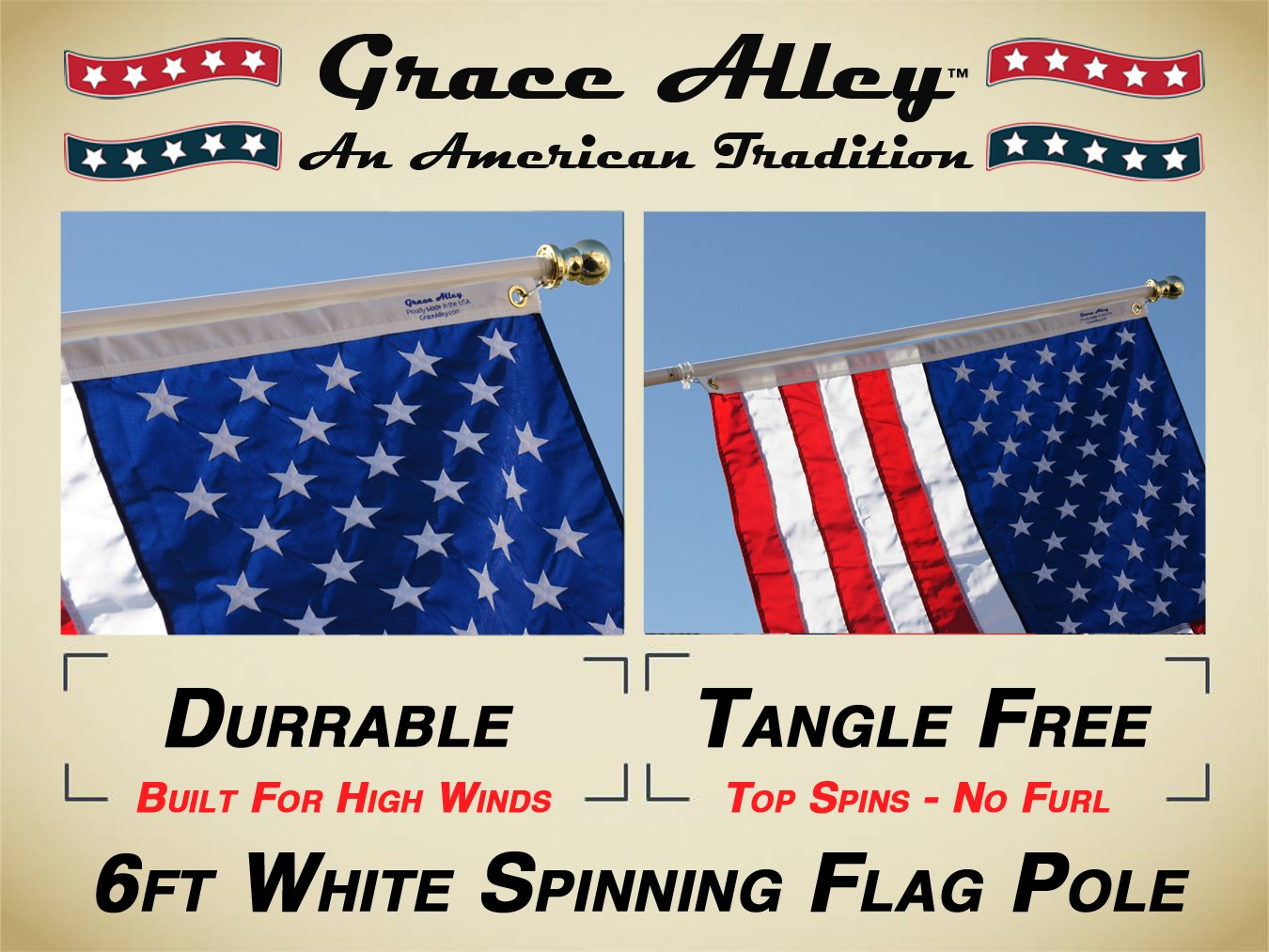 Flag Pole: Tangle Free Spinning Flagpole Residential or Commercial 6ft Flag Pole (White) by Grace Alley (Image #3)