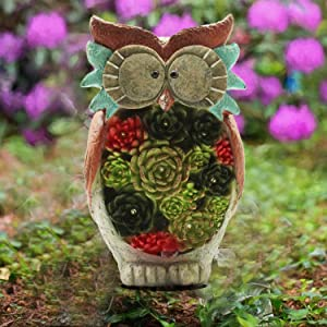 X-PREK Garden Statue Owl Figurines,Solar Powered Resin Animal Sculpture with Led Lights for Fall Winter Garden Decor,Patio Yard Art,Lawn Ornaments,Christmas Gardening Gifts,Home Decorations
