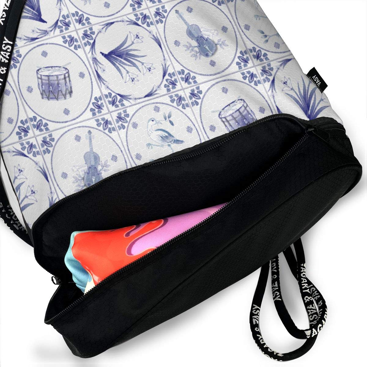 Delft Tiles Drawstring Backpack Sports Athletic Gym Cinch Sack String Storage Bags for Hiking Travel Beach