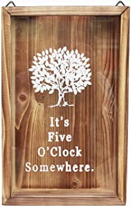 Wine Cork Shadow Box, Beer Cap Holder Shadowbox Display, Bottle Cap Collector, Wall Mounted or Free Standing, Rustic Stained Wood (It's Five O'Clock Somewhere, 12.8'' X 8'')