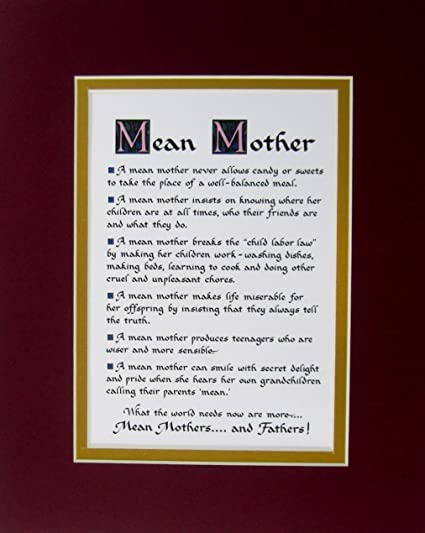 Amazoncom Mcdarlins Calligraphy Humorous Mean Mother Double Matted