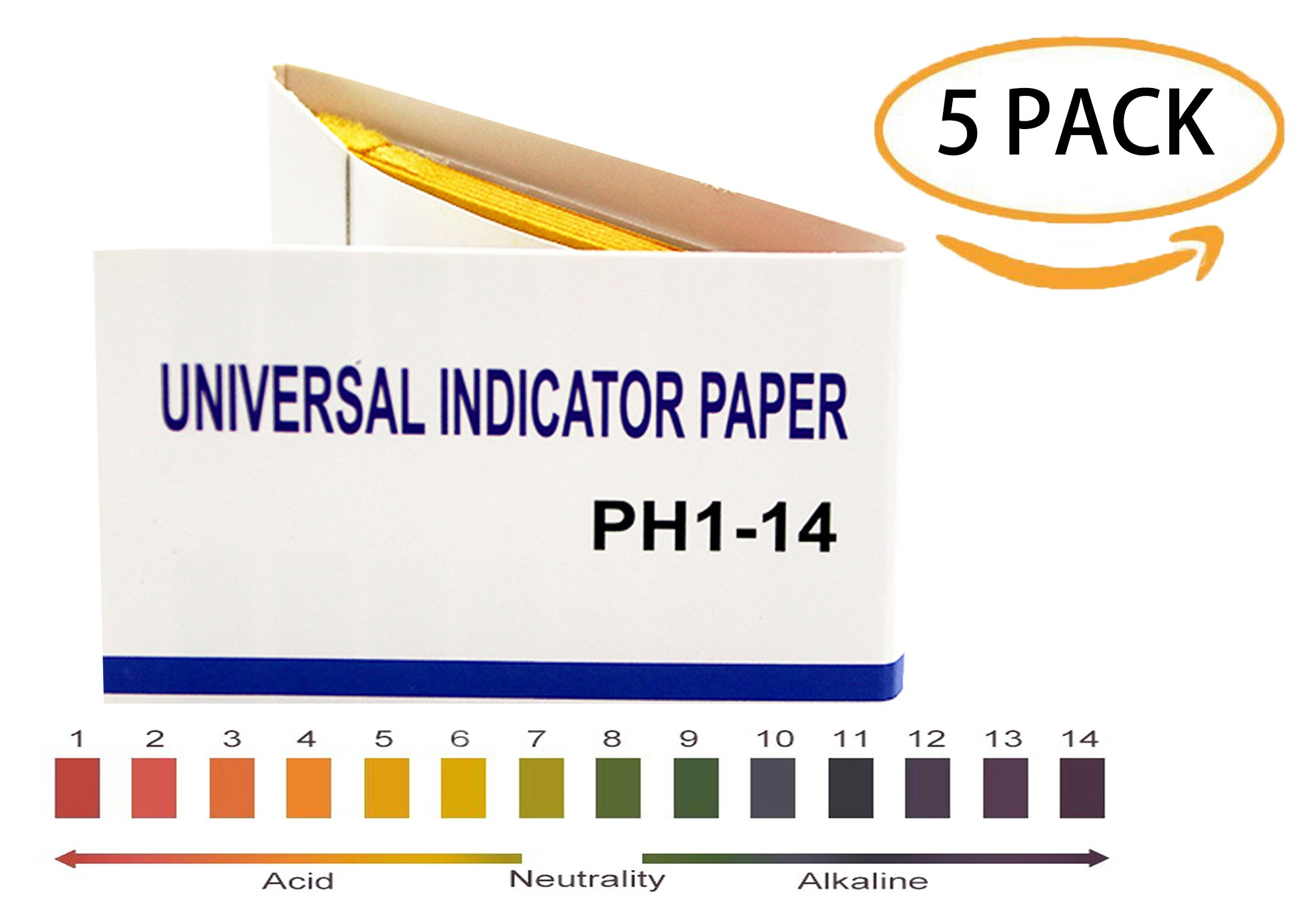 PH 1-14 test Paper,PH universal Indicator Paper for testing water quality/soil/urine/saliva/cosmetics,80 per pack(5 Pack) by Seresta