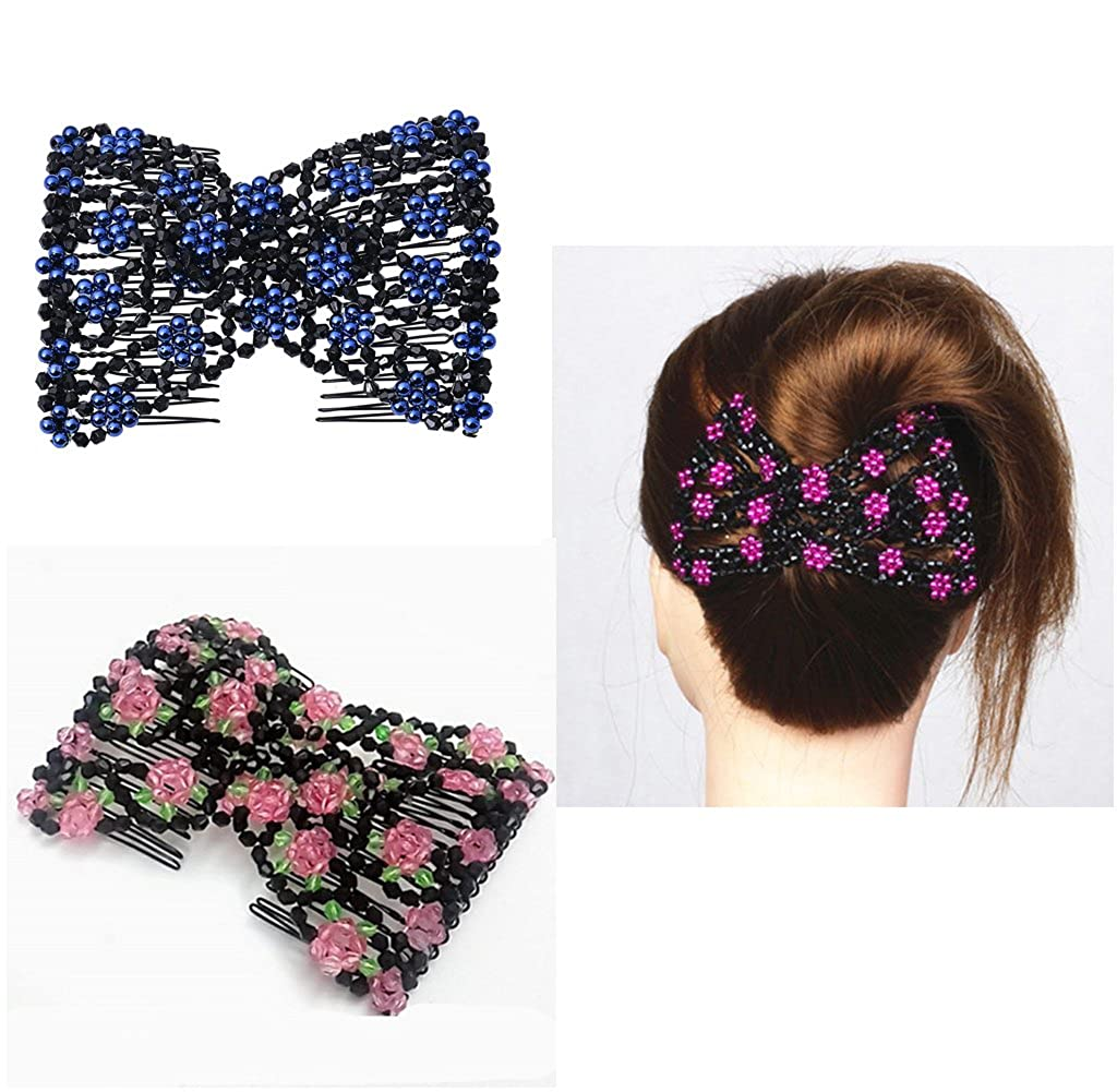 Lovef 3Pcs Assorted Color Easy Comb Ez Magic Comb Stretchy Beaded Hair Comb Crystal Bow Double Comb Hair Head Comb Cuff Double Clip Good Gift