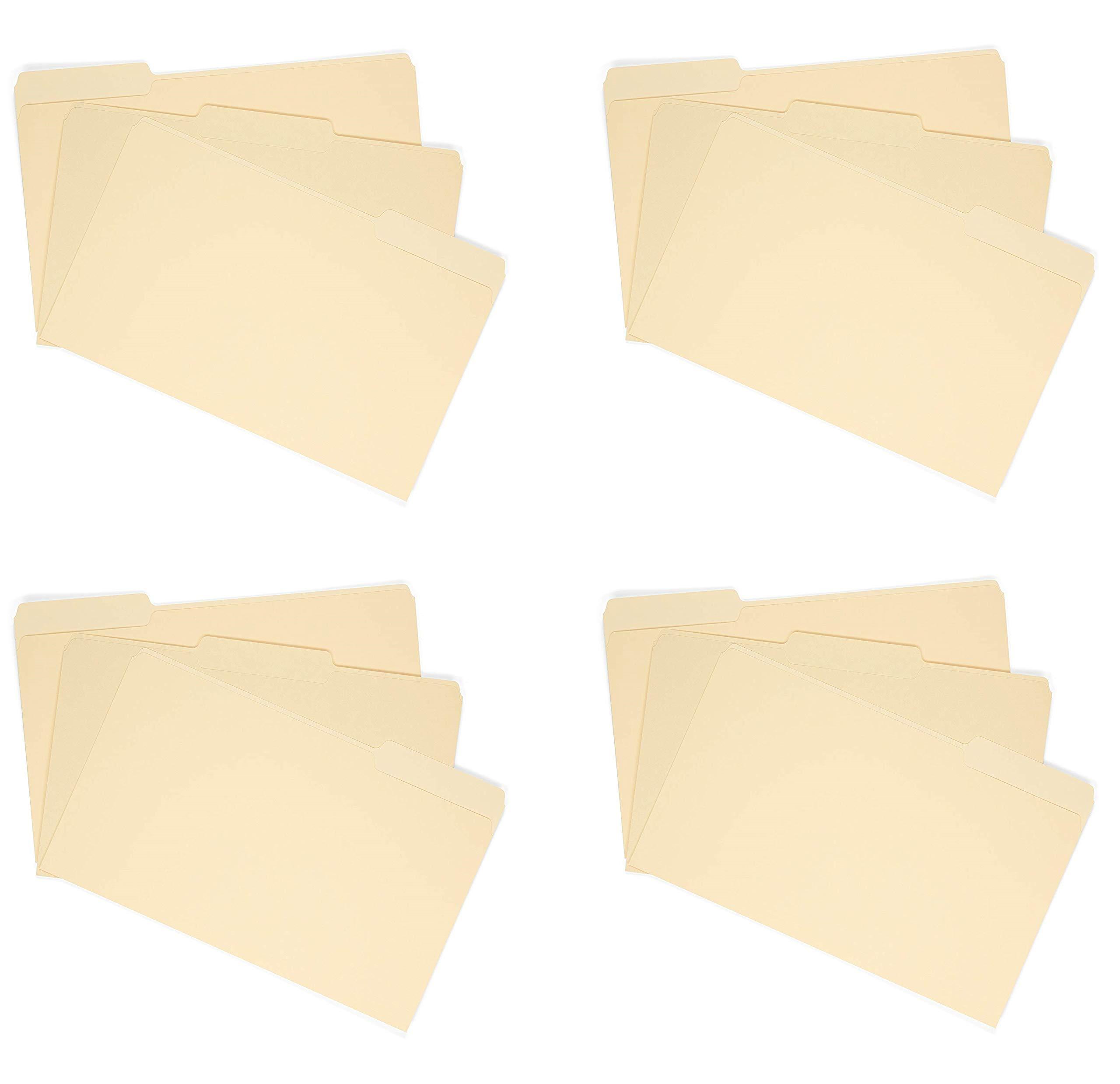File Folder, 1/3 Cut Assorted Tab, Legal Size, Manila, Great for organizing and Easy File Storage, 100 Per Box (4 X 100 per Box)