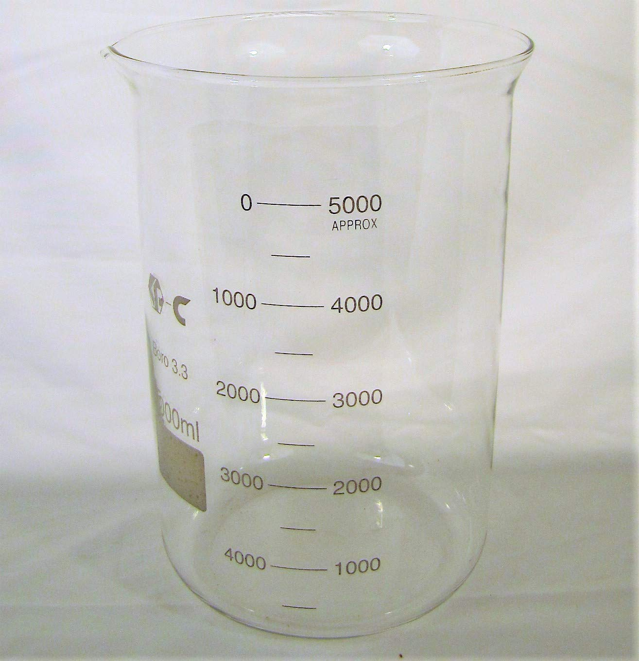 Glass Beaker Measuring Cup, 5000 Ml (5l), Graduated, Borosilicate Glass Chang Bioscience