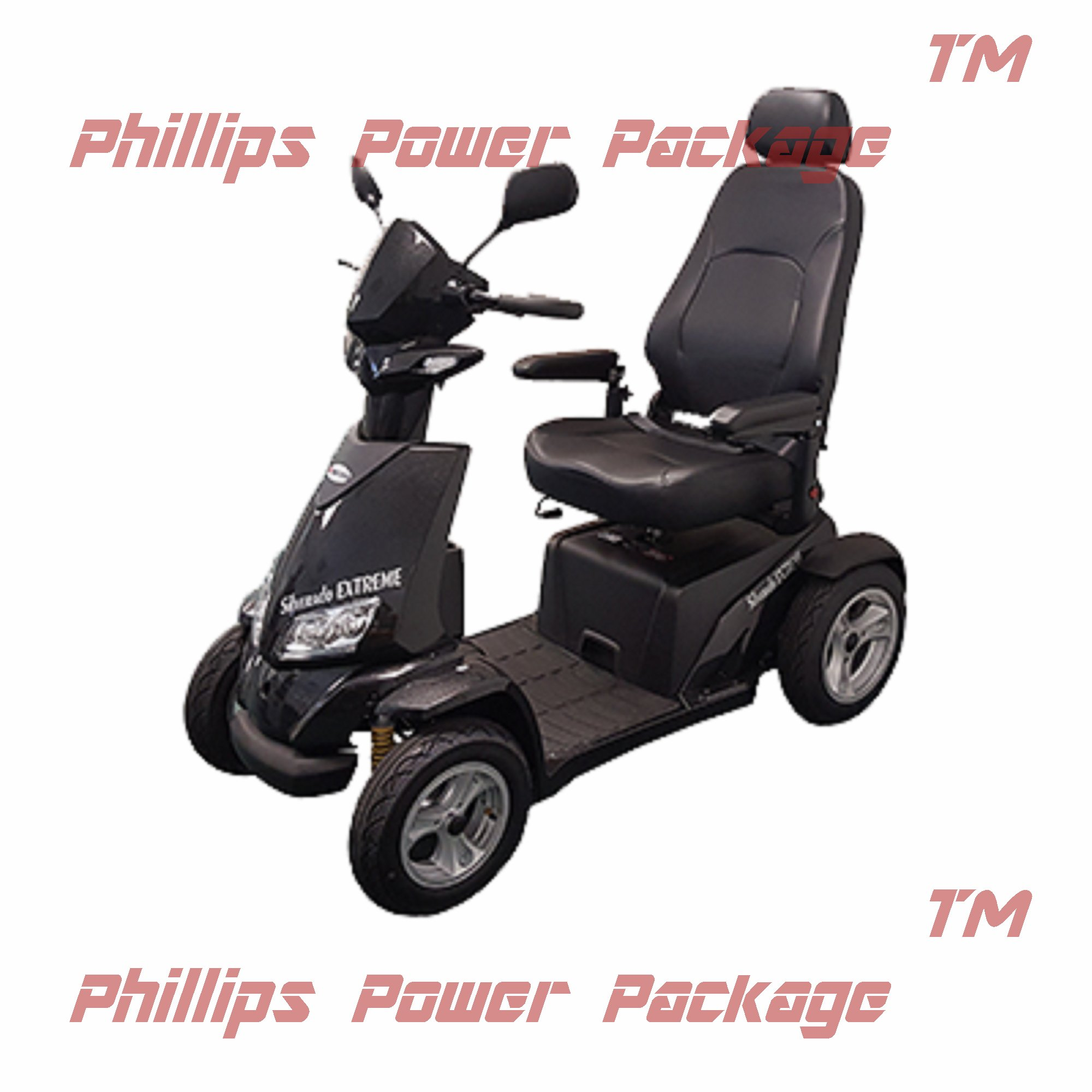 Merits - Silverado Extreme - 4-Wheel Full Suspension Electric Scooter - 20''W x 18''D - Black - PHILLIPS POWER PACKAGE TM - TO $500 VALUE