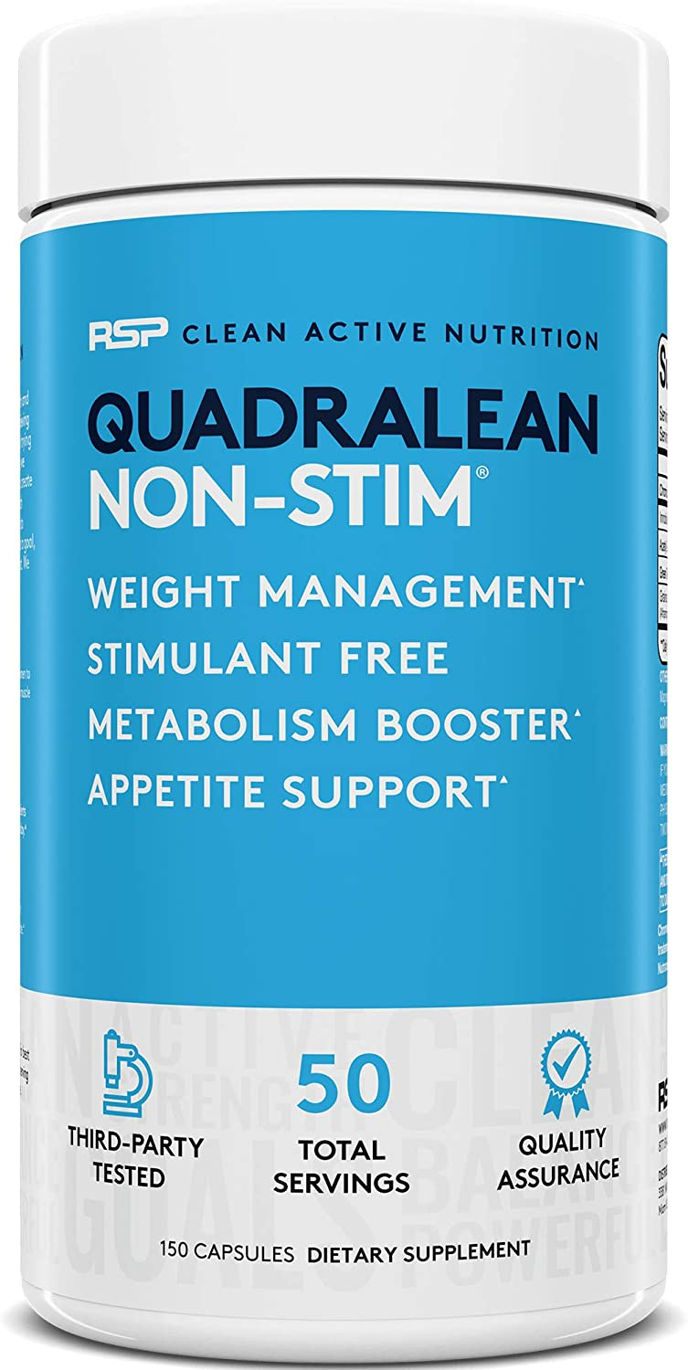 RSP Nutrition QuadraLean - Stimulant Free Weight Management, Metabolism Booster, Energy & Appetite Support - CLA, L-Carnitine, Green Tea Extract, Non-Stim Formula, 50 Serv (Packaging May Vary): Health & Personal Care