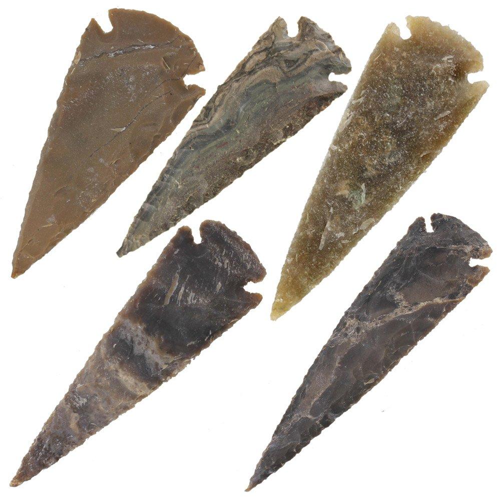 Medieval Flint Agate Arrowhead 5 Piece Set 3 Inch