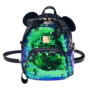 KINGSEVEN Small Sequins Backpack Glitter Cute Animal Ear Purse School Bags 76b0a548e6f88