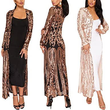 PROMLINK Sequin Cardigans for Women Long Sleeve Open Front Club Dress Coat  Black 0f81b3d227d5