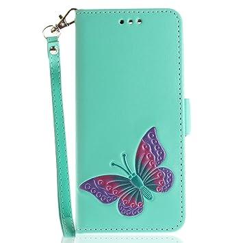 Funda Huawei P10,SainCat Funda de cuero sintético tipo billetera con correa de cordón de