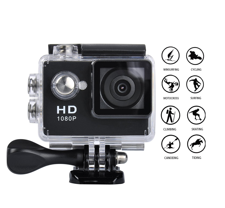 Goldwangwang 1080P Full HD 2.0 inch LCD Screen Waterproof Sports Action Camera Cam DV 5MP DVR Helmet Camera Sports DV Camcorder, Black