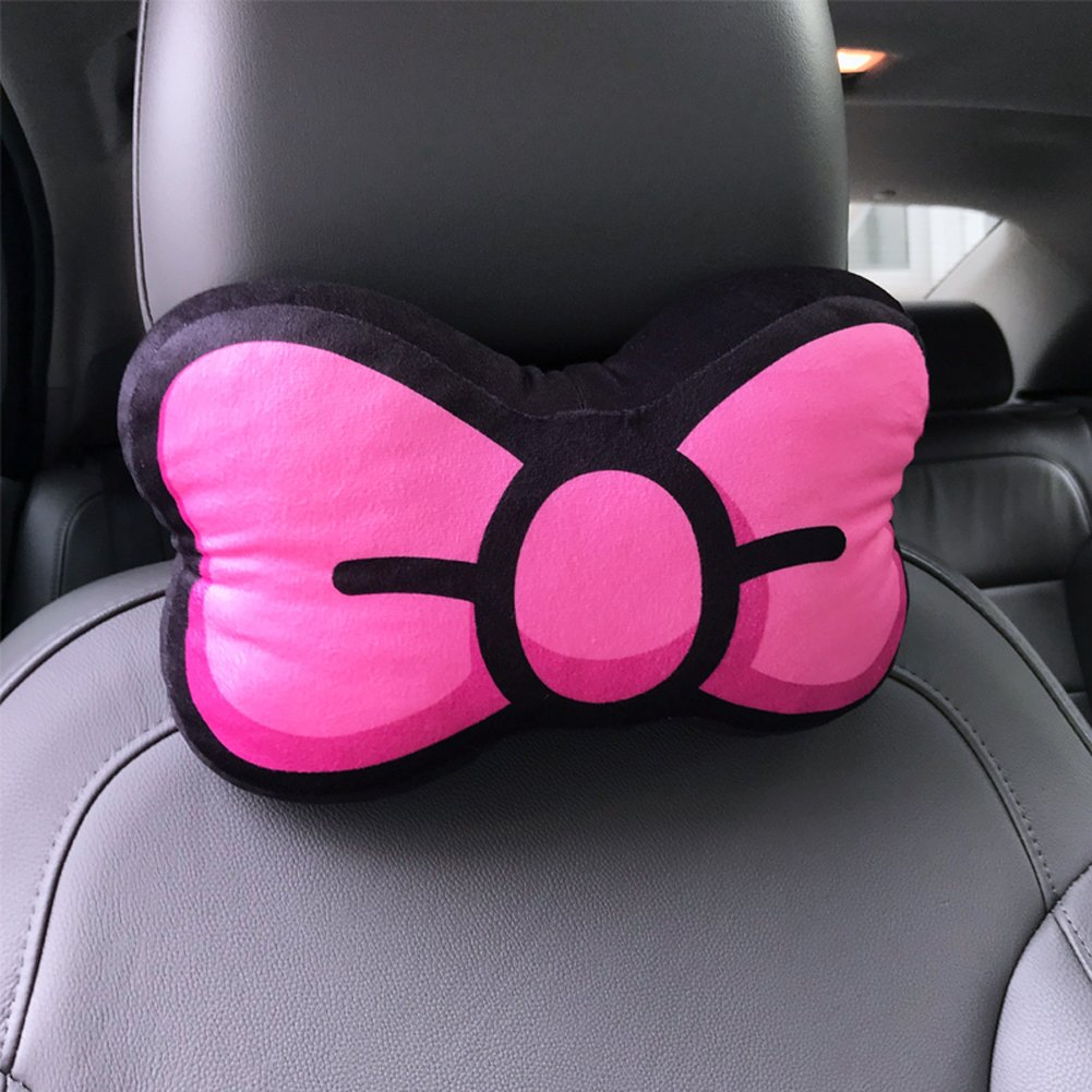 Sweet Bowknot Shape Car Neck Pillows Headrest Pillows 2PCS (Rose Red)