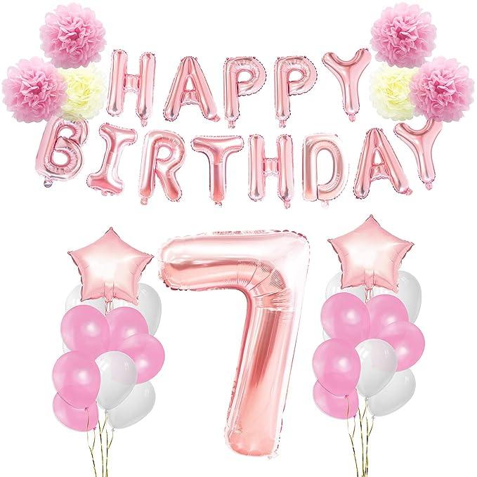 KUNGYO 7 años Oro Rosa Decoraciones de Fiesta de Cumpleaños - Happy Birthday Bandera de Globos, Globos de Aluminio Número y Estrella, Cintas ...