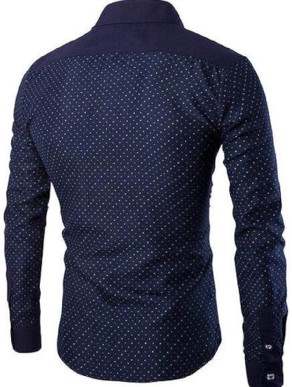 M/&S/&W Mens New Long Sleeve Casual Cotton Polka Dots Dress Shirts