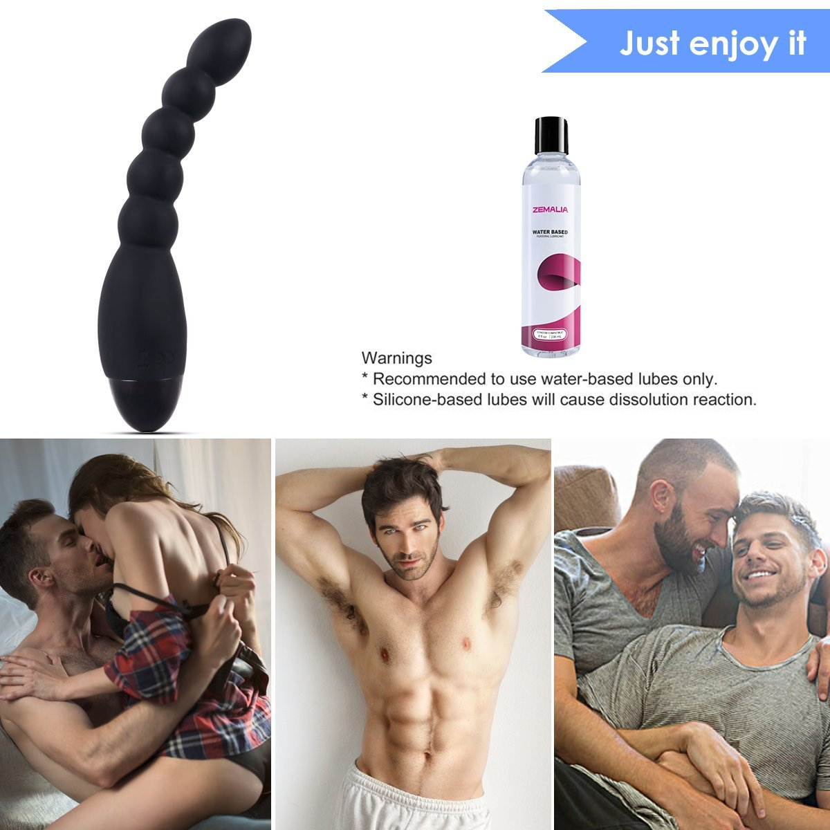 Zemalia Vibrating Anal Plug Beads 10 Speeds Prostate Massager Adult Anal Sex Toy G-Spot Vibrator Rechargeable Butt Plug Waterproof for Men Women and Couples