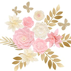 Ling's moment Paper Flower Decorations Set of 8, Nursery Wall Monogram Sign Decorations, Pink Cream Cardstock Peony Rose Lily Leaf Butterfly Assorted for Baby Shower, Birthday, Bridal Shower, Wedding