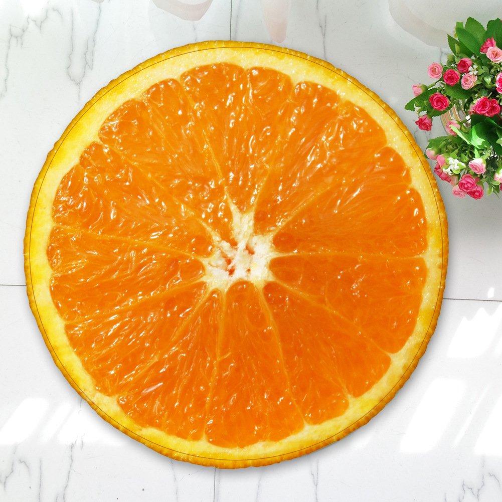 LanTa Home Runde Frucht gedruckt Flanell Schlafzimmer Computer Polsterung Yoga Rutschfeste Teppich Matte 55cm (Farbe   Orange, Größe   100cm)
