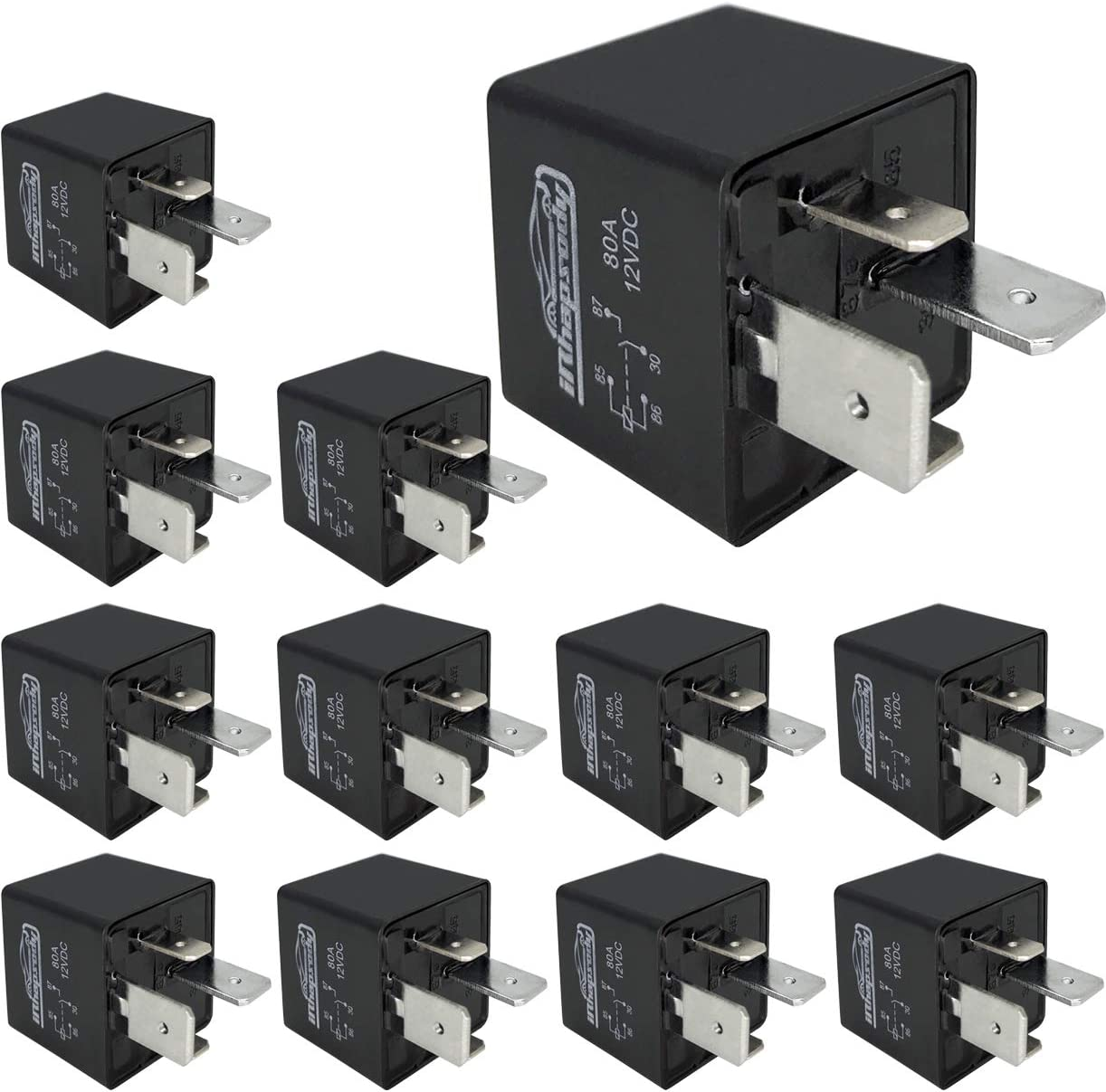IRHAPSODY 4 Pin Heavy Duty 80 AMP Relay Switch High Power 12 V DC SPST Bosch Style Automotive Electrical Relay 12 Pack