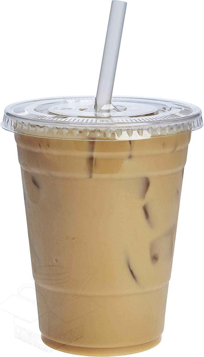 [100 Sets - 16 oz.] Plastic Cups With Flat Lids: Kitchen & Dining