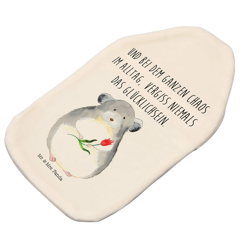 /& Mrs Kinderw/ärmflasche W/ärmflasche Chinchilla mit Blume mit Spruch Panda W/ärmekissen Mr Farbe Wei/ß