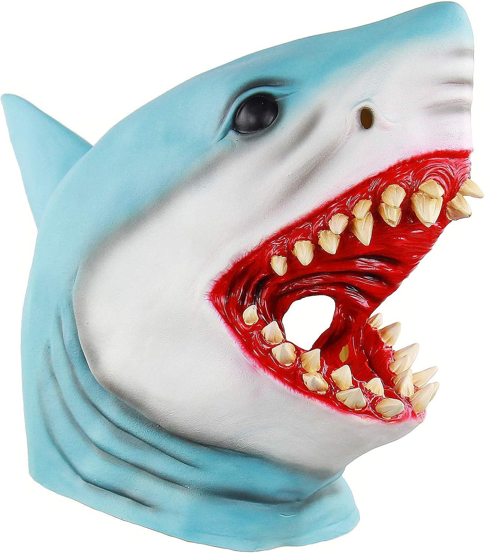 Animal Masks for Men, Scary Shark Mask, Halloween Head Mask Blue