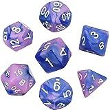 Dados Poliédricos Set de 7-Dados para Dungeons y Dragons con Bolsa Negra (Azul Rosado)