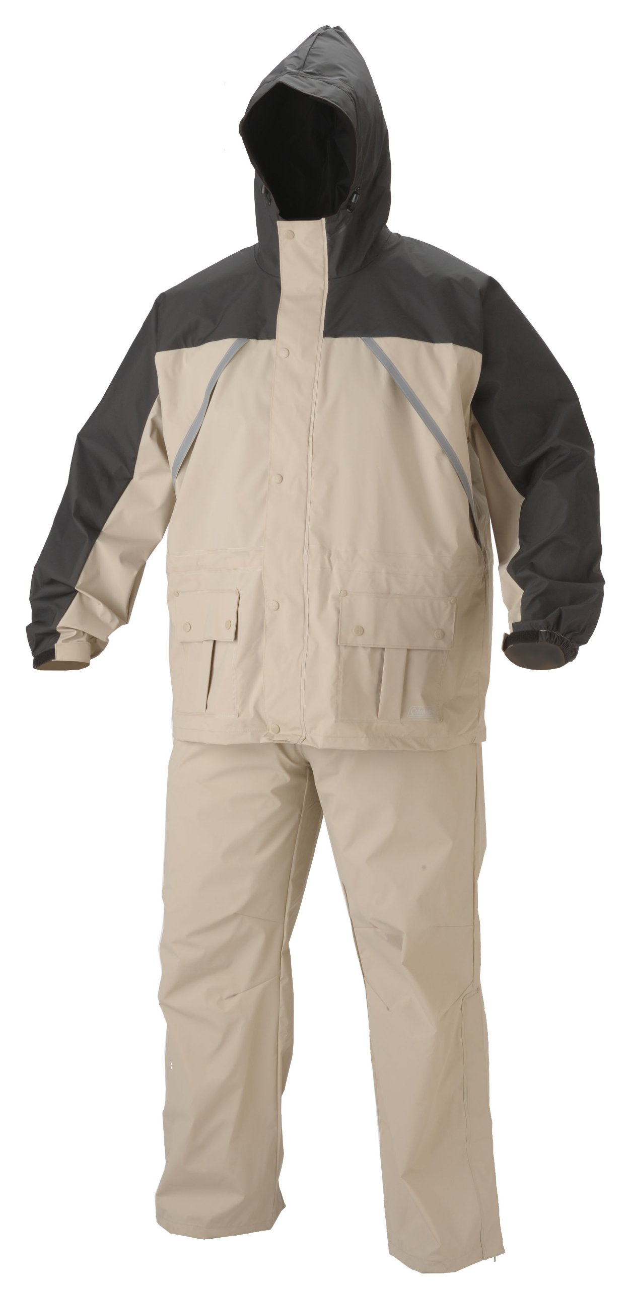 Coleman .20mm PVC/Nylon Rain Suit,Black/Tan,Medium