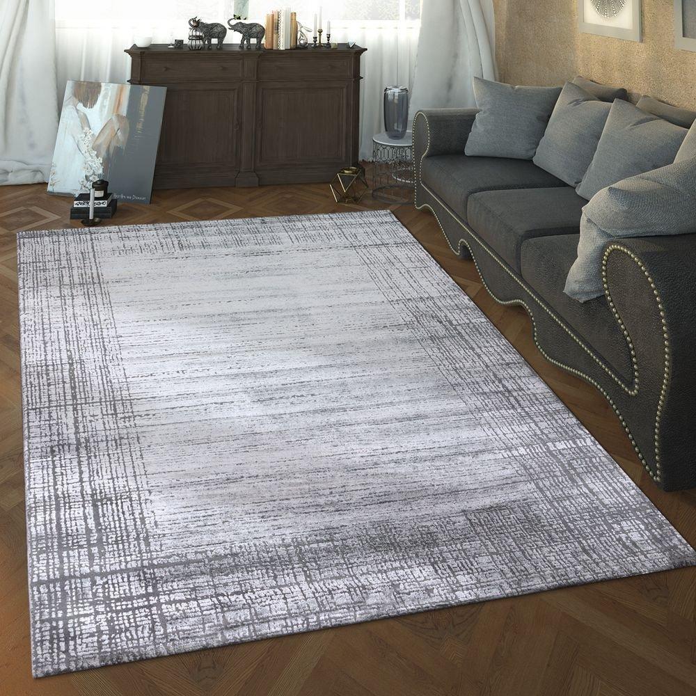 Paco Home Designer Wohnzimmer Teppich Hoch Tief Struktur Modern Vintage Look In Grau, Grösse:160x230 cm