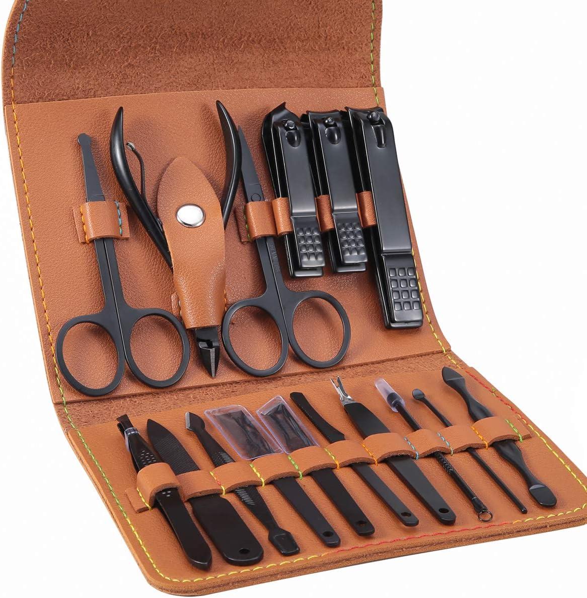 Manicura Pedicura Set 16 PCS Profesional Cortaúñas Acero Inoxidable Grooming Kit - Con Estuche De Viaje De Cuero Lujoso(Marrón)