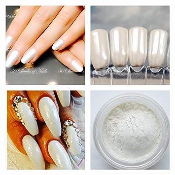 1x Shimmer Mermaid White Pearl Sparkle Glitter Mica Dust Powder Nail Art  Manicure Pedicure 5ml pot