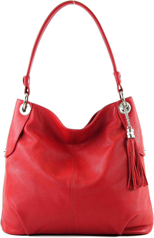 modamoda de - T185 - ital. Ladies leather shoulder bag Signalrot