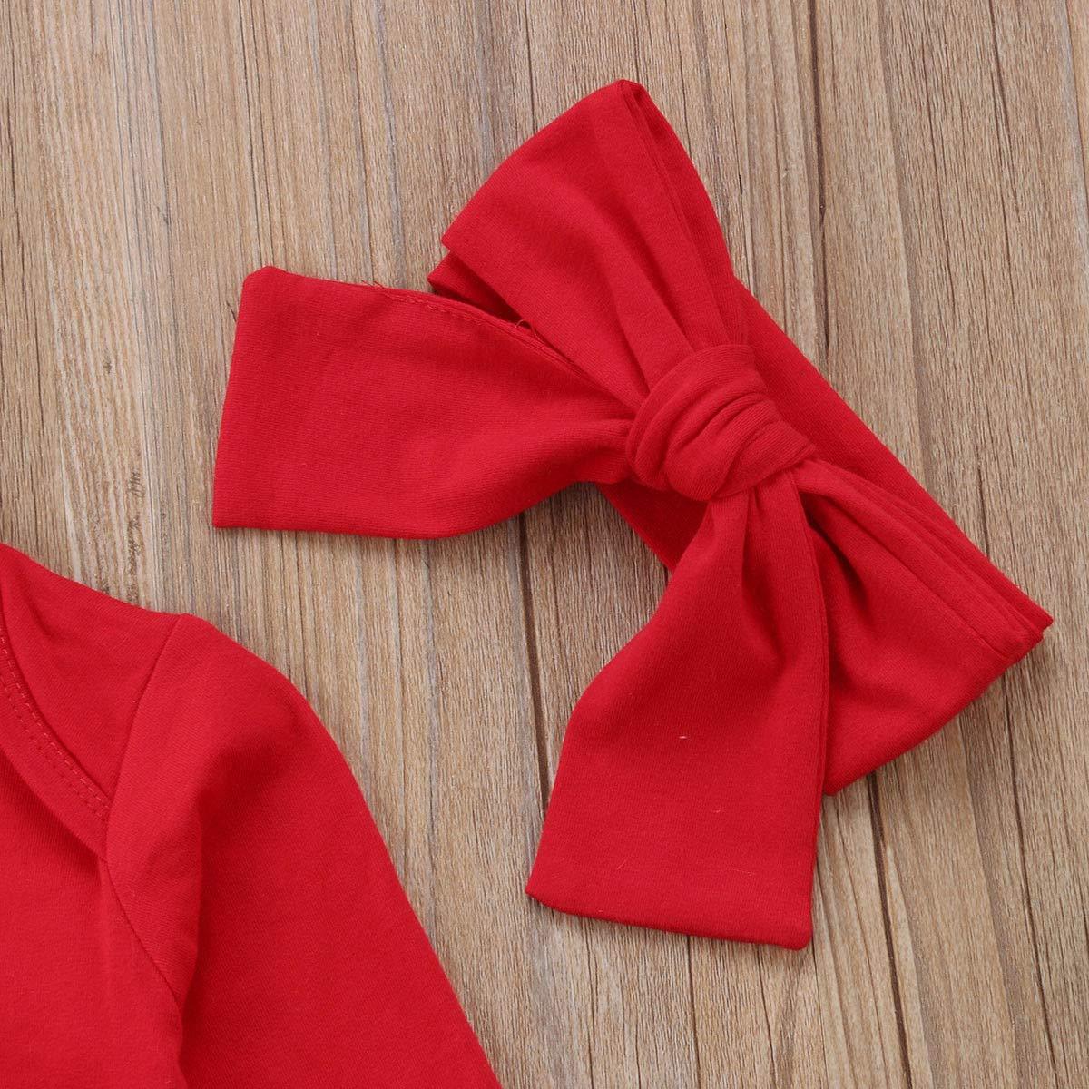 Pelele de Navidad para reci/én Nacidos y ni/ñas huai hua yue cheng ban My First Christmas Incluye Falda de Pap/á Noel y Diadema 3 Unidades