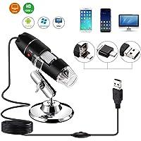 YOMYM 40 a 1000x endoscopio de aumento, 2MP de resolución y 8 LEDs su conexión es un puerto USB 2.0 microscopio Digital, Mini cámara con Adaptador OTG y Soporte de Metal, Compatible con Mac OS, Window XP o superiores, Android y Linux