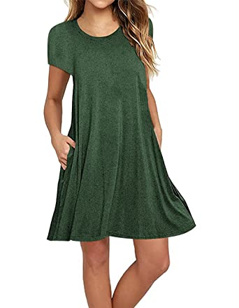 946fe4fc7cd5 Sanifer Women s Short Sleeve Cotton T-Shirt Dress Swing Tunic Dress with  Pockets (Small